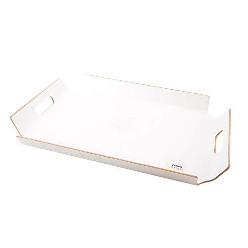 Point-Virgule Serviertablett mit Handgriffe, deko tablett küche, weiß, 55x40x50cm