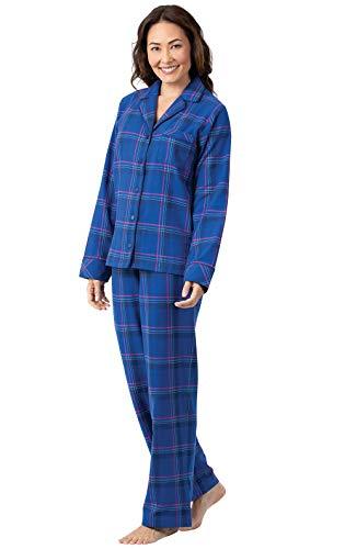 PajamaGram Womens Flannel Pajamas Plaid - Button Down PJs, Indigo, M, 8-10