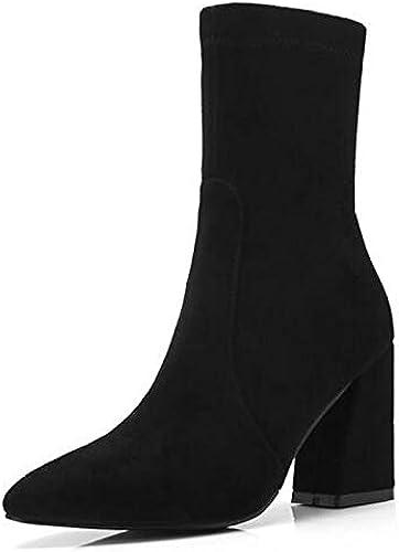 IWxez Stiefel de Moda para damen Stiefel de otoño de Gamuza Tacones Gruesos Botines con Punta Cerrada Botines schwarz braun   grau Oscuro