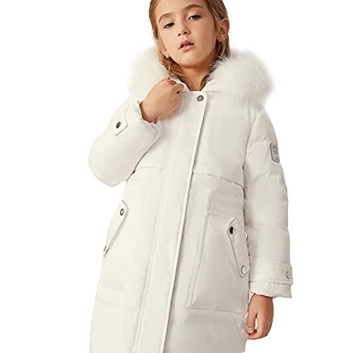 Cuello de piel para niños Chaqueta de mediana longitud, chaqueta cálida gruesa Invierno Feliz Impresión Hit Color Color Estilo Casual Superando Girls Big Bolsillo Puffer Chaqueta 110-170cm, Blanco, 14