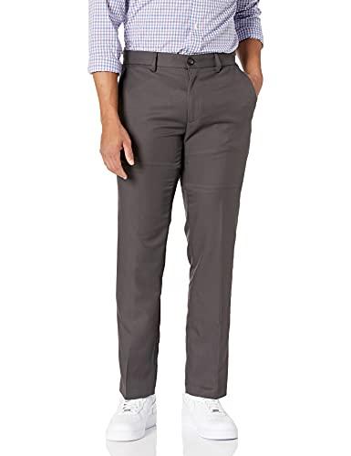 Amazon Essentials Men's Slim-Fit Flat-Front Dress Pants, Dark Grey, 33W x 34L