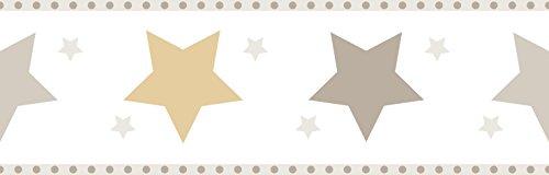 Rasch Textil Papierborte Bordüre selbstklebend - Bimbaloo 2- 330518 Sterne weiß beige braun gold