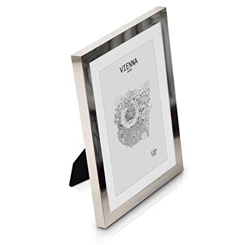 Elegance by Casa Chic Bilderrahmen 13x18 cm Silber - Mit Passepartout für 10x15 Foto - Front aus Glas - 1,5 cm Rahmenbreite - Versilbert