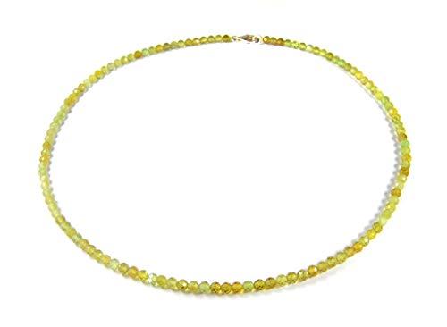 Damen Edelsteinkette Halskette aus grünem Granat in facettierter Kugelform Ø-4 mm 925er Silber Verschluss