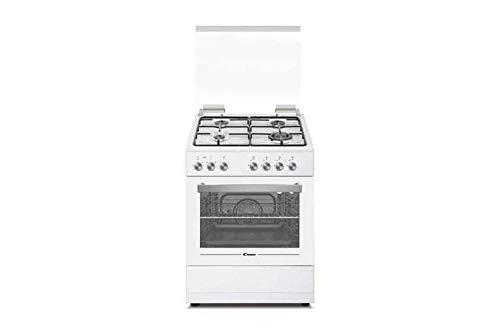 Candy CGE656MW/E – Cocina de gas con horno eléctrico 60 x 60 cm, 4 fuegos, clase A, blanco