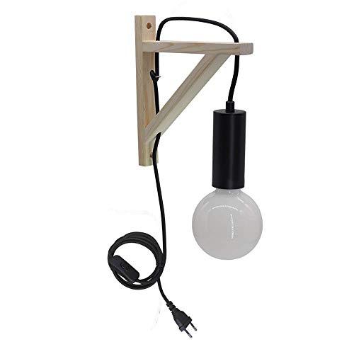 BYX Lámpara de pared de madera creativa moderna E27 Lámpara de pared de hierro forjado minimalista para dormitorio Lámparas de noche Estudio Escalera Luz interior
