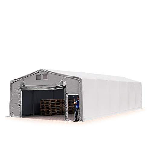 TOOLPORT Lagerzelt Zelthalle 8x16 m mit Hochziehtor - ca. 550g/m² PVC, durchgehende Plane - Wasserdicht 3m Seitenhöhe