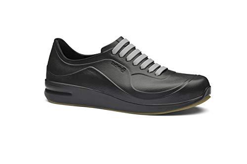 Toffeln AktivFlex Trainers - Comfortable, Lightweight, Supportive, Slip Resistant, Microfibre Insole, Nurses Shoes - Rubber Laces, Durable & Machine Washable Perfect for Nurses & Doctors Black