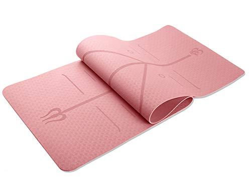 Tapete Yoga TPE 6mm Linhas Corporais Rosa