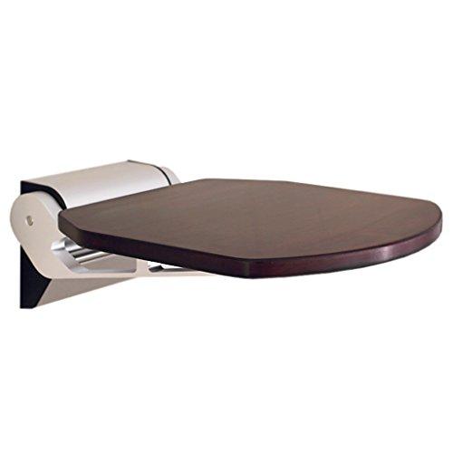 IAIZI Silla de baño plegable, taburete de ducha montado en la pared, base de acero inoxidable con asiento de bambú, taburete de ducha pesado for bañera for ancianos, discapacitados, mujeres embarazada