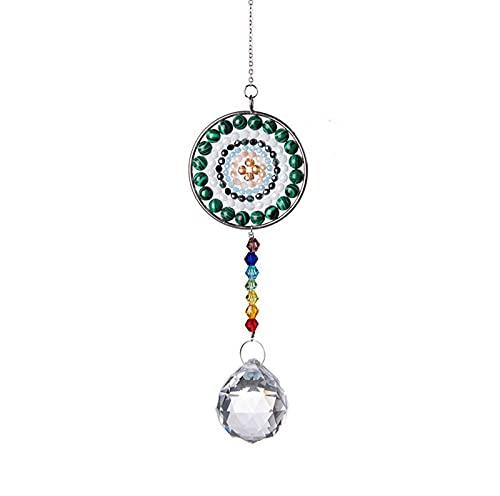 XDY Verde Mandala Cristal Colgante Colgante árbol de Vida Colgante Colgante joyería de Cristal Colgante Bead Cortina casa Viento Chime,Verde
