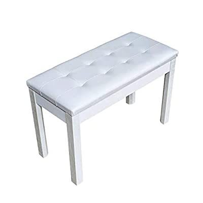 ZHRUNS Duet Piano Bench Wooden Keyboard Bench with Storage and Padded Cushion (White)