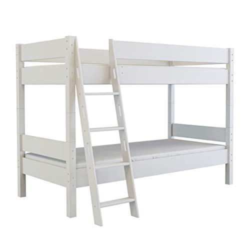 Mobi Furniture stapelbed 90x200 + lattenbodem massief beuken hoogslaper kinderkamer bed wit
