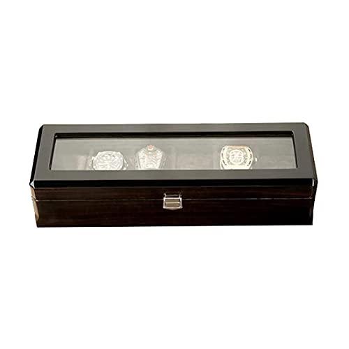 LSLS Caja joyero Reloj Box 6 Grids Watch Pantalla Caja de Almacenamiento Joyería Colección Caja Organizador Titular de Madera Almohada Desmontable Organizador de Joyas