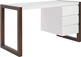 McMola 90192WHT Manon Desk in Matte White with Dark Walnut Finish - Three Drawers