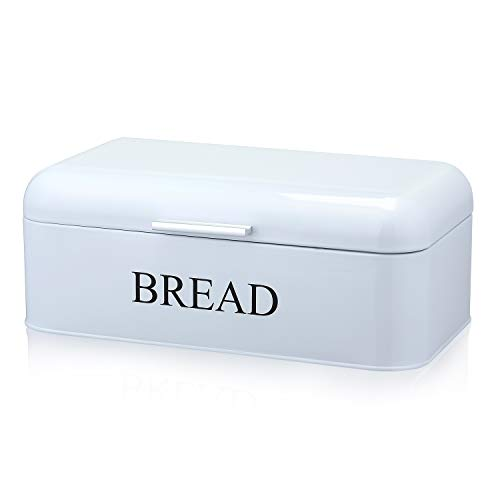 DAILYLIFE Grove Bread Box For Kitchen Counter Dry Food Storage Container, Bread Bin, Store Bread Loaf, Dinner Rolls, Pastries, Baked Goods & More, Retro Vintage Design, White