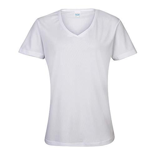 JUST COOL - Damen V-Neck Funktionsshirt 'Cool T' / Arctic White, XXL