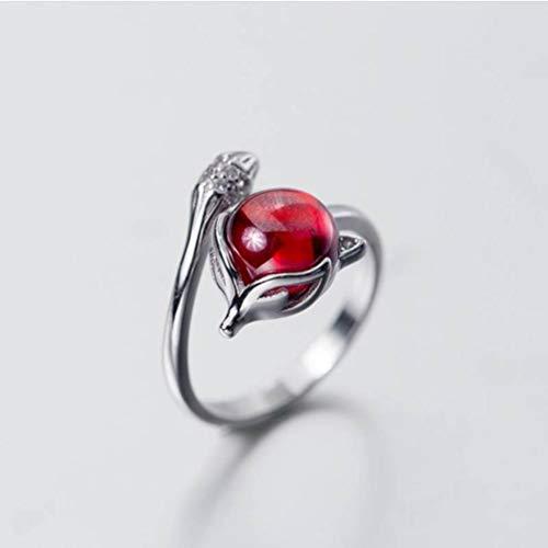 WOZUIMEI S925 Silber Diamant Ring Damen Rotfuchs Öffnung Zeigefinger Ring Schönen Stil KinderschmuckS925 Silberring, Öffnung eingestellt