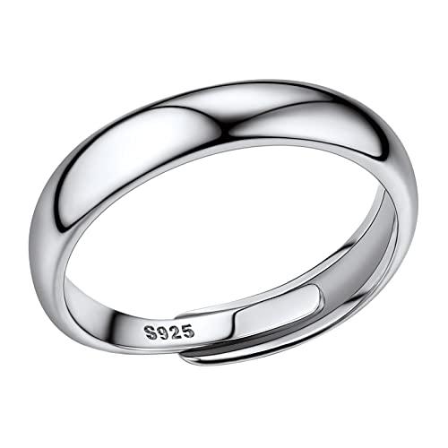 PROSILVER Anillo Plata Banda Hombre Anillo Abirto Ajustable Argolla Solitario Compromiso Boda Mujer Simple Open Ring