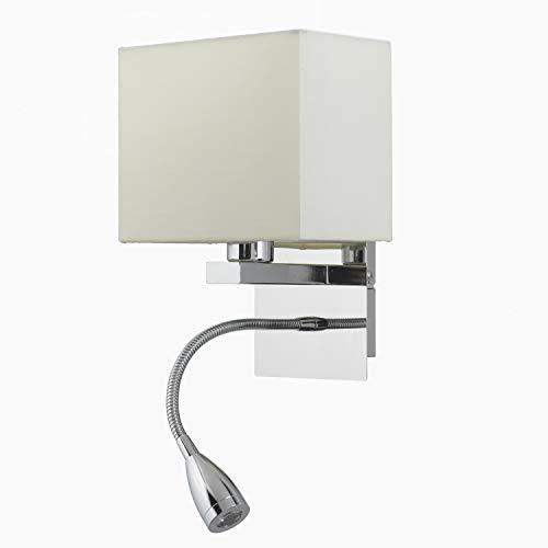 ONLI Bed Applique Lampada da Lettura con Paralume in Tessuto Avorio