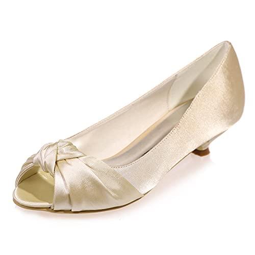 Love Shoes Zapatos De Boda De Satén Medio Bajo con Tacón De...
