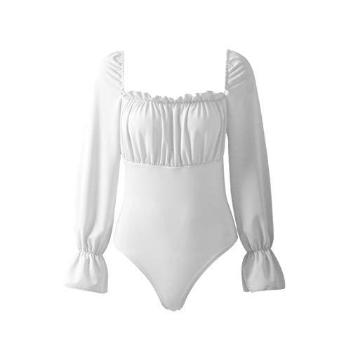 SEEGOU Blusa de mujer con mangas de burbujas, una sola pieza, suave, temperamento. Blanco XXL