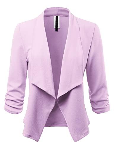 FASHIONOLIC Women's Stretch 3/4 Gathered Sleeve Open Blazer Jacket (Made in USA) (CLBC001) Lavender L