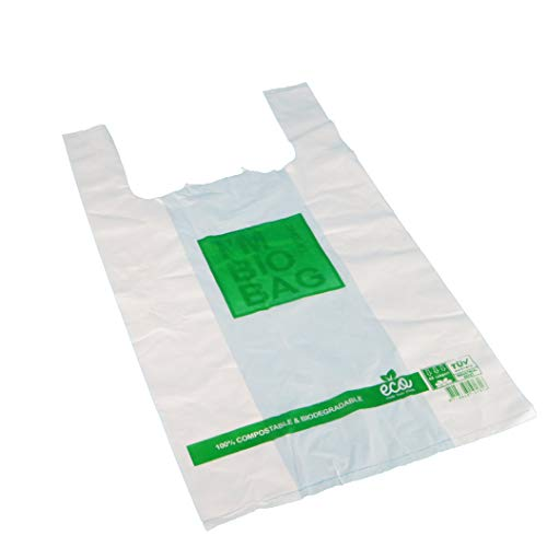 1000 Bio Hemdchentragetaschen Knotenbeutel Shopper Bags Hemdchentüten Obsttüten 28+14x48cm 15my extrastark Naturweiß transparent 100% biologisch abbaubar/kompostierbar (DIN EN 13432)