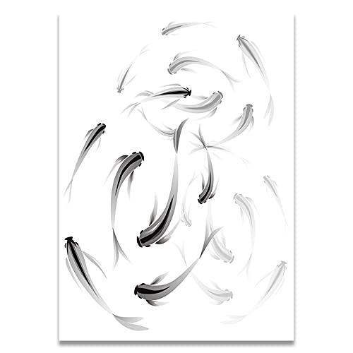 Plakat drukowany obraz ścienny do czarno-białego malarstwa minimalistyczne ławice płótno do salonu Home Decor dekoracje ścienne (60x80cm) Unframed