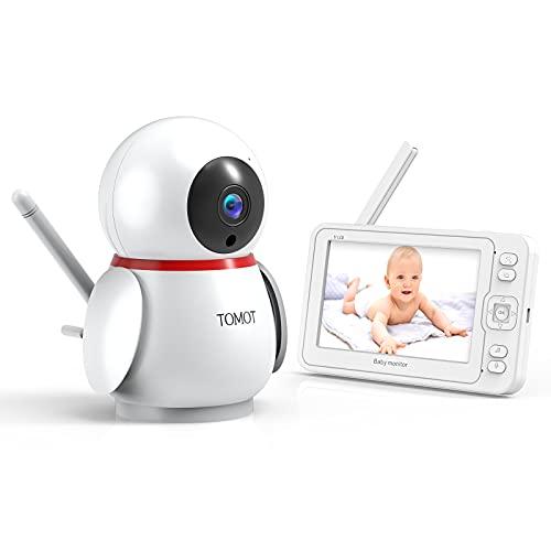 Baby Monitor Videocamera, Baby Monitor da 5 Pollici con Display HD 1080P, Monitor Video con Visione Notturna, Allarme Sonoro, Citofono, Ninna Nanna e Funzione VOX, Portata 300 m