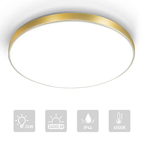 LKESBO LED Deckenlampe 24W Deckenleuchte 2400LM Küchenlampe 6500K Rund Deckenbeleuchtung für Wohnzimmer Schlafzimmer Badezimmer IP44 Badlampe