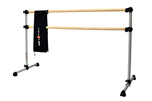 Vita Vibe Traditional Wood Ballet Barre - DBNB4-W 4ft -Portable Double Bar w Carry Bag- Freestanding Stretch/Dance Bar - Vita Vibe - USA Made