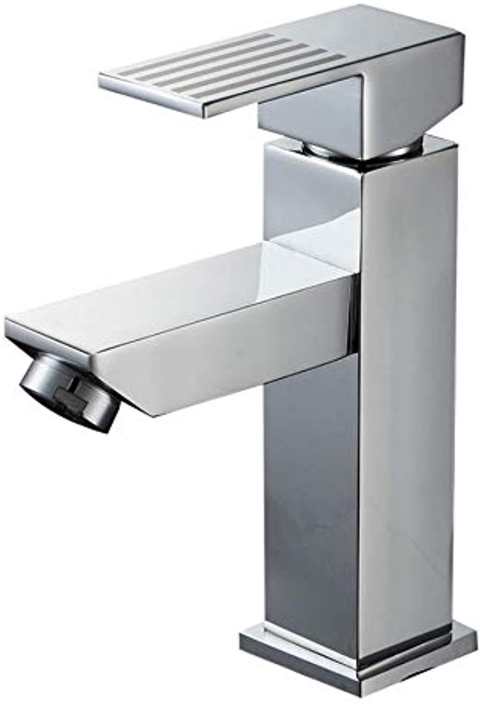 Washbasin Faucet Brass Chrome Square Body Single Handle Hot and Cold Basin Faucet Brass Chrome Hot and Cold Faucet Faucet