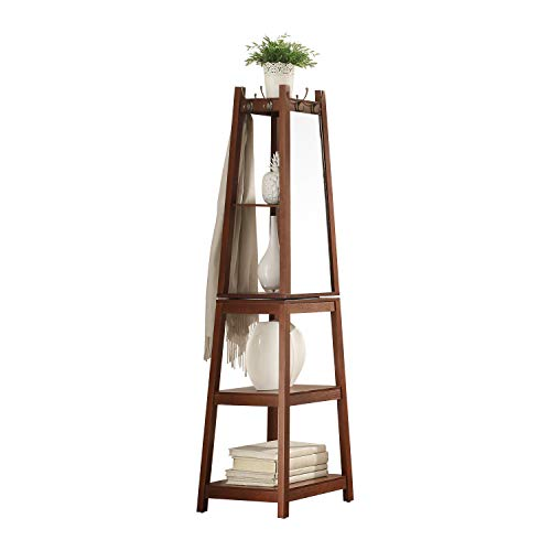 YBYT Multifunctional 360°Swivel Wooden Frame Mirror Dressing Mirror with Hanging BarCoat Stand,Attached to The Hook ,Higher Mirror A Variety of use Functions Storage is More Convenient Brown
