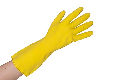 12 Paar hochwertige Haushaltshandschuhe Größe 10 (XL) aus Latex gelb - lebensmittelgeeignet und säurebeständig EN 388 EN 374