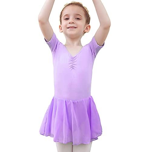 Tancefair Dziecięca sukienka baletowa dla dziewcząt, trykot baletowy, trykot taneczny, dekolt w kształcie litery V, krótki rękaw, trykot bawełniany, sukienka do tańca z szyfonową spódniczką tutuu, liliowy, 100 cm