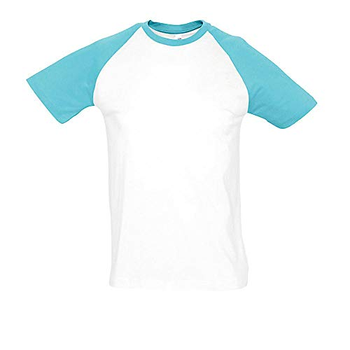 Sol'S Fynky - Tee Shirt macnhes Courtes Bicolore Homme - Manches raglantes - Style Baseball américain - Blanc/Atoll - XXL