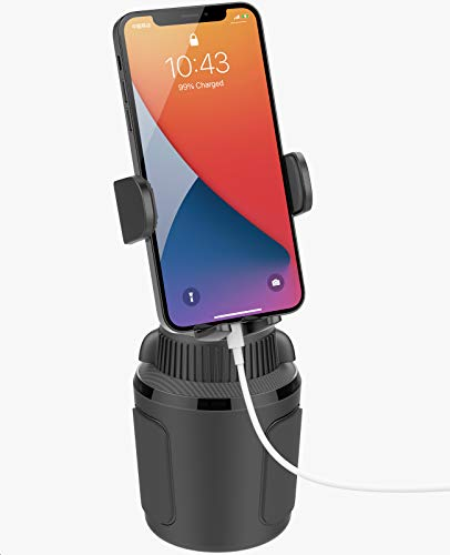 Solid Cup Holder Phone Mount for Car Truck with Quick Extension Long Arm Fast Swivel Adjustable Height 360 Rotatable, Low Profile Universal APPS2Car Mobile Mount Compatible with All Cell Phone iPhone