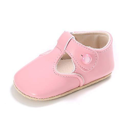 XYAN Babyschuh-Mädchen weicher Unterseite reinen Farben-Anti-Rutsch-PU Buttons Innen Laufen Lernen (Farbe : Pink, Size : 11cm)