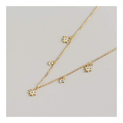 Collar de cadena europea y americanos de lujo luz plata de ley geométrica de la estrella Diseño de Redes rojo sentido del viento salvaje clavícula ( Color : Golden yellow , Size : 925 silver )