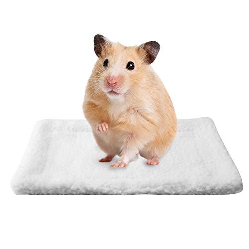 HEEPDD Kleinetier Bett Haus rechteckigen Plüsch warme Schlafmatte Kissen Heimtierbedarf für Mäuse Ratten Chinchillas Kaninchen Igel Eichhörnchen(Weiß)