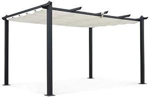 Alice's Garden Pergola Aluminium - Condate 3x4m - Toile écrue - Tonnelle idéale pour Votre terrasse, Toit Retractable, Toile coulissante