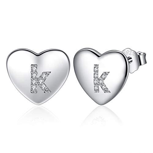 Heart Letter K Earrings for Womens, 925 Sterling Silver Initial Earrings for Girls with Cubic Zirconia, Heart Alphabet Stud Earrings