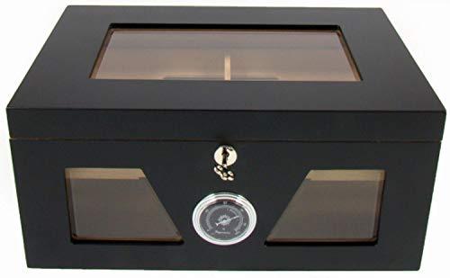 Angelo Humidore und Holz-Kisten: Gastro-Humidor, Zigarren-Humidor mit Sichtfenster | für ca. 48 bis 162 Zigarren| 184 x 380 x 262 mm | Spanisches ZEDERNHOLZ, schwarz | von bong-discount