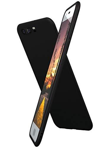 ONEFLOW Slim Hülle Kompatibel mit Huawei P10 Plus Handyhülle Stoßfest und Minimalistisch, Ultra Dünne Bumper Design Handy Schutzhülle Matt, Leichte Hülle aus Silikon - Schwarz