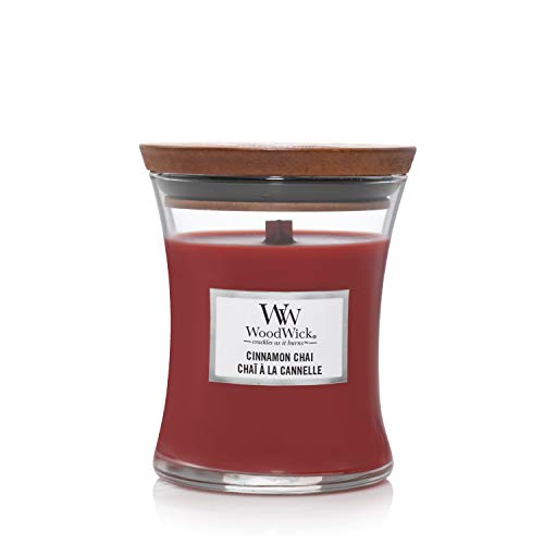 Woodwick Medium Hourglass Scented Candle | Cinnamon Chai | with Crackling Wick | Burn Time: Up to 60 Hours, Cinnamon Chai