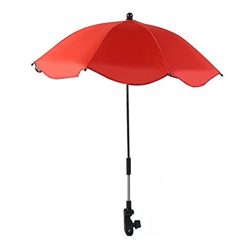 Ombrello per passeggino, anti UV 50 + ombrellone per passeggino, universale, con braccio flessibile regolabile, pieghevole, per spiaggia, giardino, colore: rosso