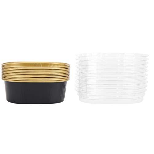 YIFengFurun Moldes para hornear magdalenas, papel desechables, ovalados, de aluminio, con tapa, accesorios de cocina, 10 unidades