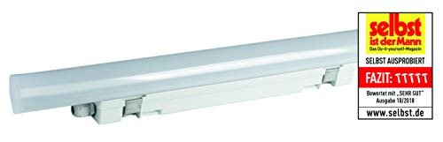 MÜLLER-LICHT Feuchtraumleuchte Aquafix Sensor, 1-8 m Reichweite, IP65, 3800 lm, 4000 K, mit integrierten LED, Durchgangsverdrahtung, mittig liegender Stromanschluss, Plastik, 40 W, weiß, 120 cm