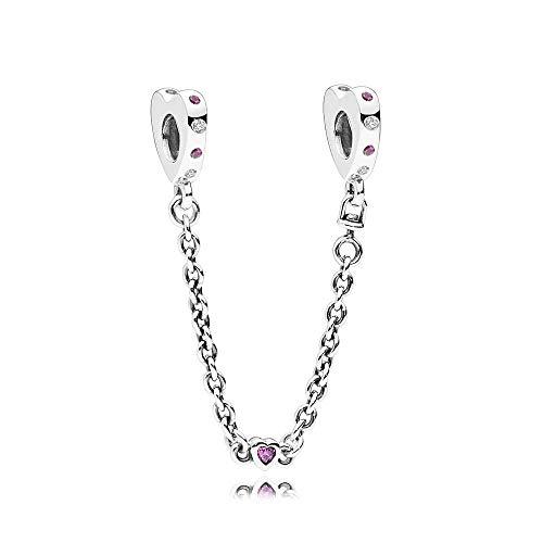 LILANG Pandora 925 Jewelry Bracelet Natural Se Adapta a los encantos de Plata esterlina Corazones Brillantes Cadena de Seguridad Charm Pink Crystal Beads para Bijoux Mujeres Regalo de Bricolaje